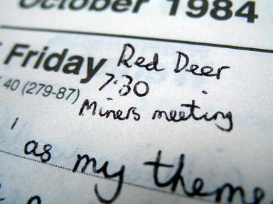 1984 diary - miners' strike meeting at the Red Deer, Sheffield