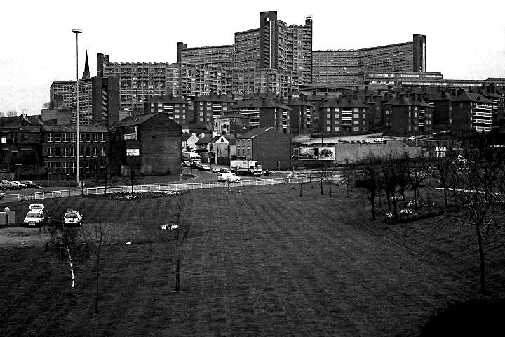 Hyde Park flats from Park Square roundabout, Sheffield, 1987