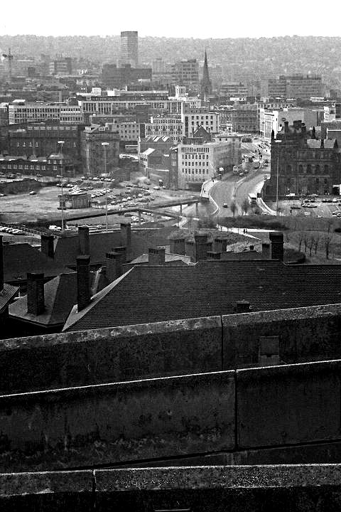 Sheffield cityscape from Park Hill flats, 1987