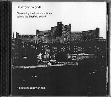 The 'Destroyed by Gods' CD cover - Sheffield's Hyde Park Flats in brutal black and white