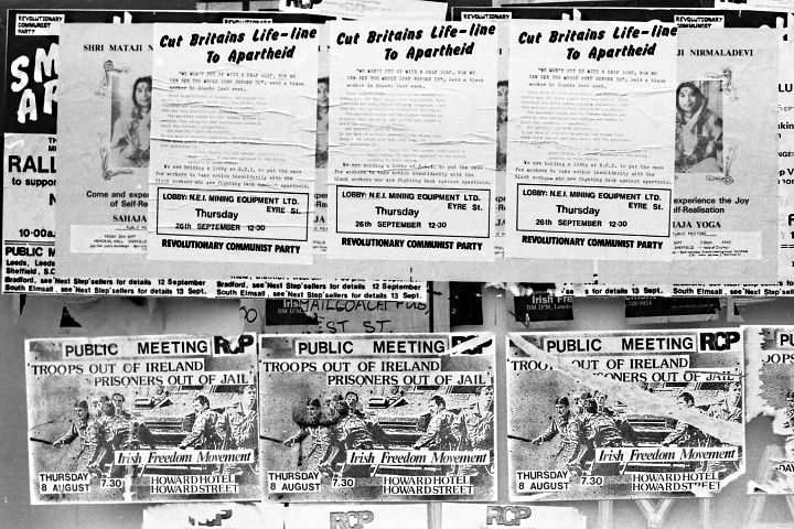 Sheffield flyposters, 1985; including the Revolutionary Communist Party and the Irish Freedom Movement