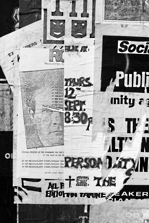 Sheffield flyposters, 1985; including the Revolutionary Communist Party and the Socialist Workers Party