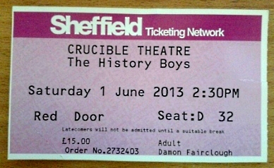 The History Boys, Sheffield Crucible Theatre, ticket