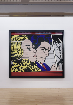 In the Car 1963 by Roy Lichtenstein on display in ARTIST ROOMS: Roy Lichtenstein in Focus at Tate Liverpool